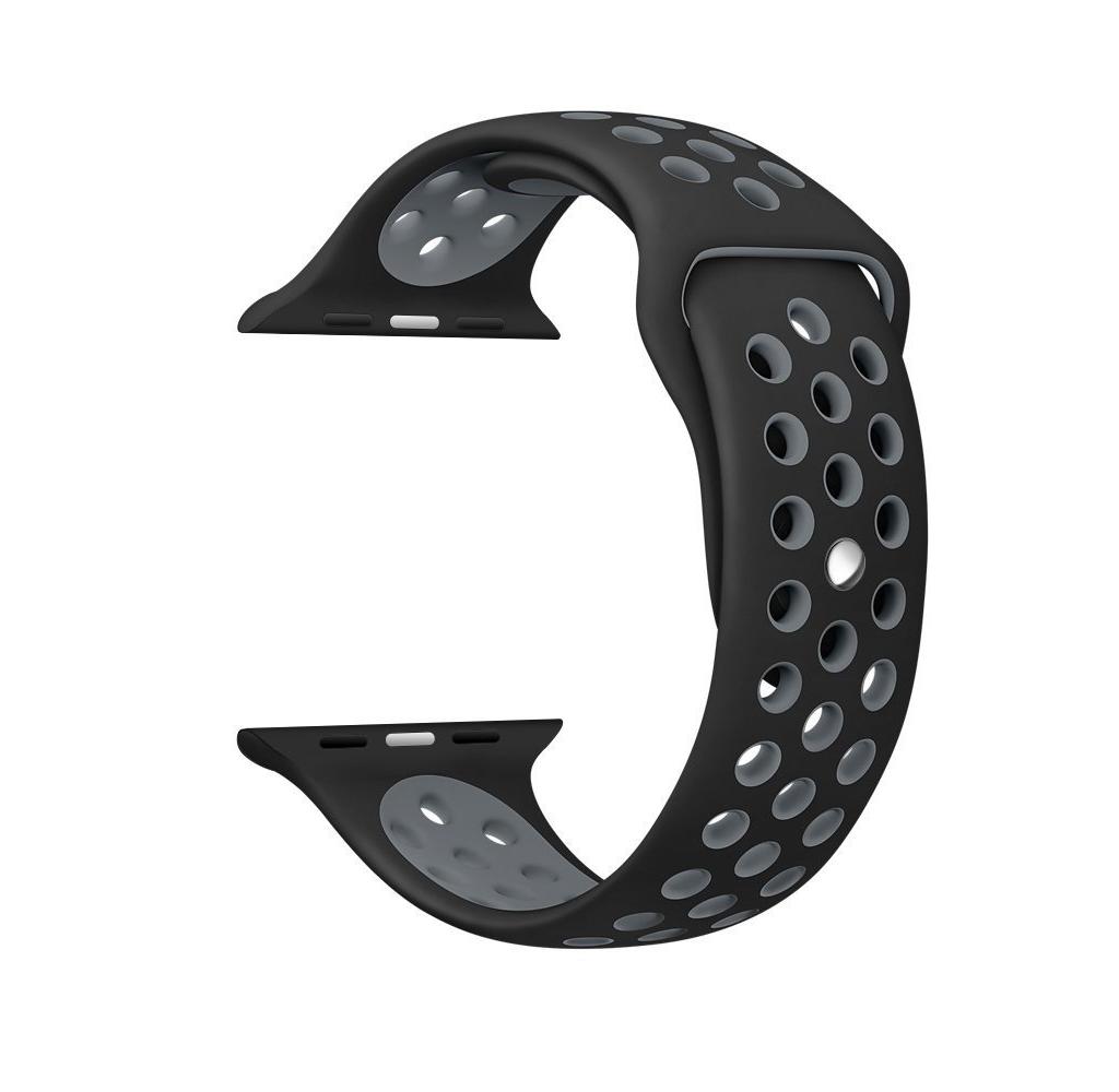 Ремешок для Apple watch 42mm Nike Silicon Loop чёрный/серый фото