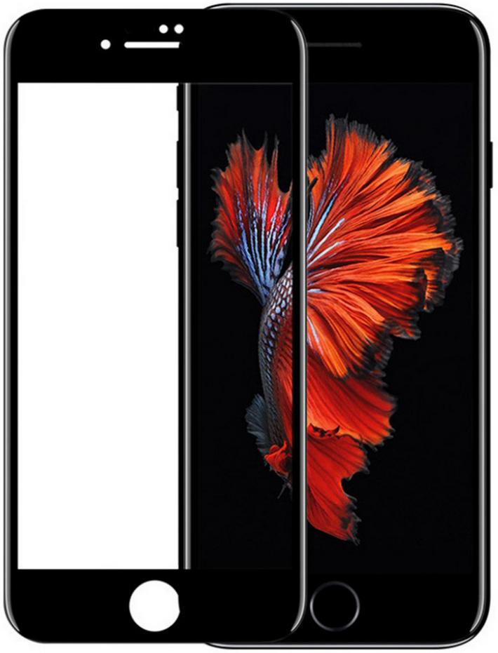 Защитное стекло универсальное для iPhone 6/7/8 5D плоский черный ТЕХПАК фото
