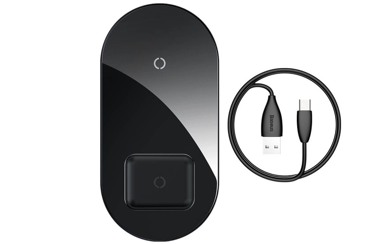 Baseus Simple 2 in 1 Wireless Charger черный фото
