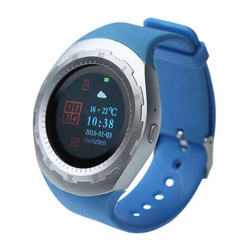 CARCAM SMART WATCH A7 - SILVER, Blue silicone