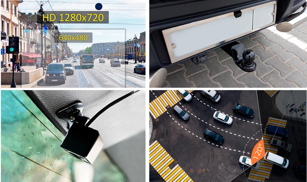 CARCAM D5 В комплект входит дополнительная миниатюрная камера, которая обладает углом обзора 120° и ведет съемку в разрешении HD 1280x720p