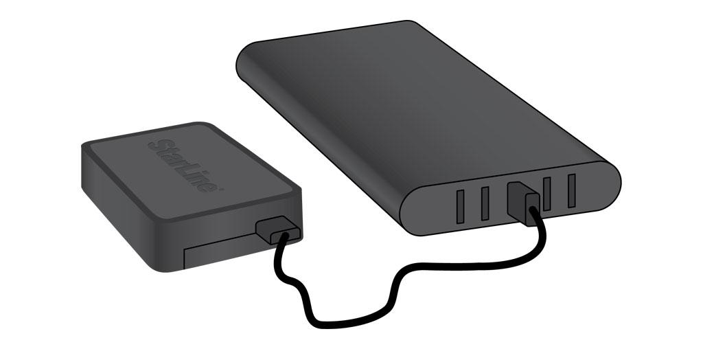 Универсальный GPS-трекер StarLine M18 - Питание от портативного аккумулятора