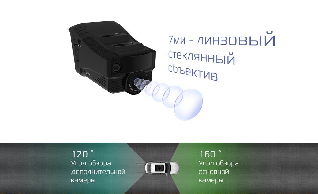 Объектив гибридного видеорегистратора FullHD КАРКАМ КОМБО 3S