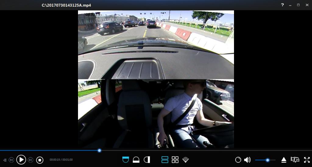 Автомобильный видеорегистратор КАРКАМ А360 Режим записи спереди и сзади