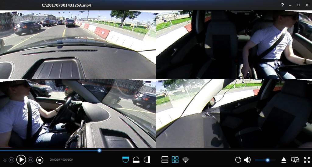 Автомобильный видеорегистратор КАРКАМ А360 - режим записи в 4 окнах