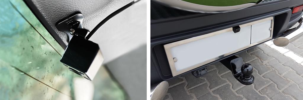 Автомобильный Full HD видеорегистратор, оснащенный дополнительной миниатюрной камерой.