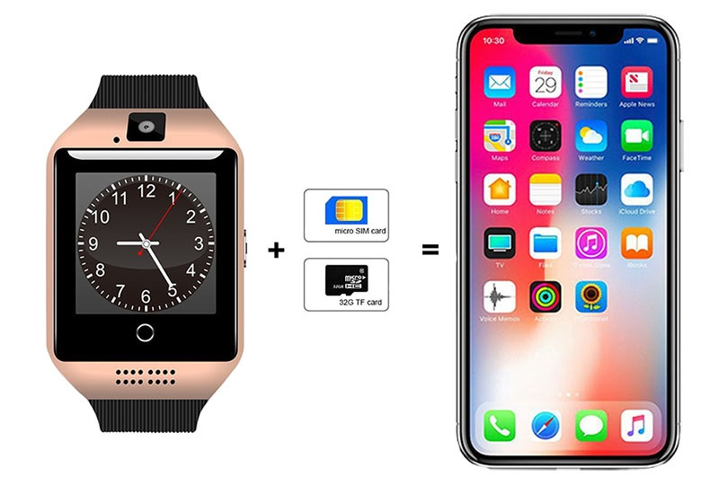 SMART WATCH Q18 Gold - Слот для SIM-карты
