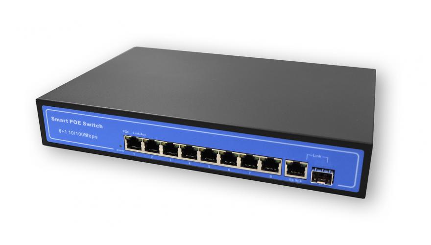 POE-0801 КАРКАМ Коммутатор 8-портовый с поддержкой PoE для видеонаблюдения