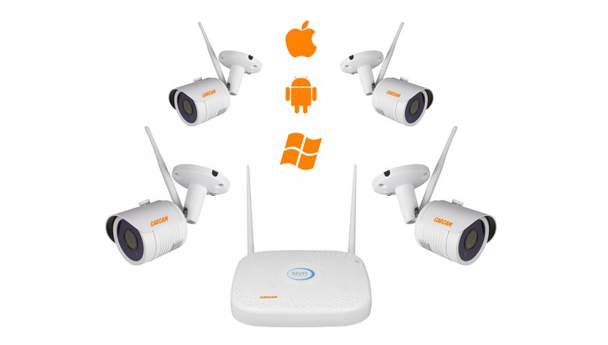 КАРКАМ КИТ-1080 WiFi Готовый Wi-Fi комплект видеонаблюдения на 4 FullHD камеры